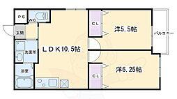 フォルトゥーナ毘沙門町 3階2LDKの間取り