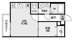 愛知県名古屋市守山区鳥羽見1丁目の賃貸アパートの間取り