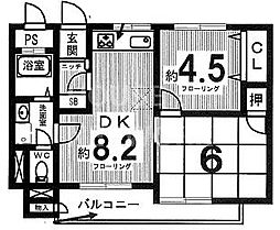 ウエストハイマンション西院[104号室号室]の間取り