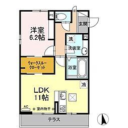 エミネンス山崎 1階1LDKの間取り