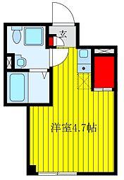 仮)BASE上中里 2階ワンルームの間取り