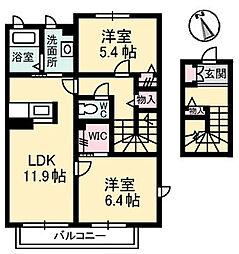 岡山県岡山市東区南古都の賃貸アパートの間取り
