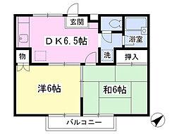 JR京浜東北・根岸線 本郷台駅 徒歩23分の賃貸アパート 2階2DKの間取り