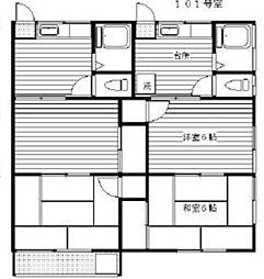 上石コーポ[1階]の間取り