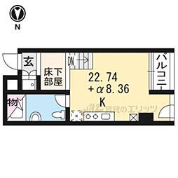 京都市営烏丸線 丸太町駅 徒歩10分の賃貸マンション 7階1LDKの間取り