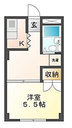 アマイケヤマト 東棟 3階1Kの間取り