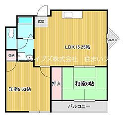 京阪本線 古川橋駅 徒歩22分の賃貸マンション 2階2LDKの間取り