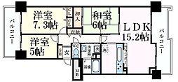 神戸新交通六甲アイランド線 マリンパーク駅 徒歩7分の賃貸マンション 3階3LDKの間取り