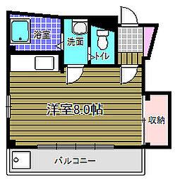 白鳳ビル北野田グリーンヒル 3階ワンルームの間取り