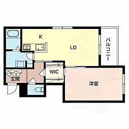Osaka Metro御堂筋線 新金岡駅 徒歩11分の賃貸マンション 2階1LDKの間取り