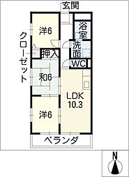 ライオンズヨシダ[4階]の間取り