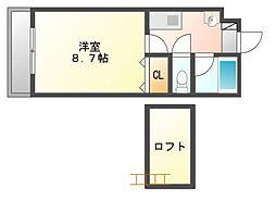 岡山県岡山市南区妹尾の賃貸アパートの間取り