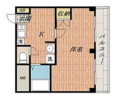 大阪府茨木市駅前4丁目の賃貸マンションの間取り