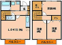 [テラスハウス] 兵庫県神戸市西区長畑町 の賃貸【兵庫県 / 神戸市西区】の間取り