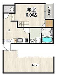 仮称)原田2丁目(2)A 2階1Kの間取り
