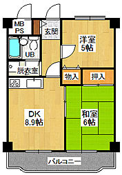 宝塚グリーンハイツ 4号館[402号室]の間取り