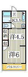 天王台アパート[1階]の間取り