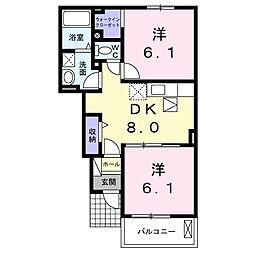 香川県観音寺市木之郷町の賃貸アパートの間取り