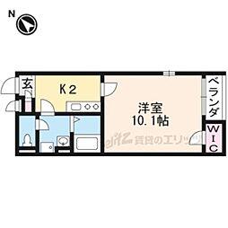 阪急嵐山線 松尾大社駅 徒歩13分の賃貸アパート 2階1Kの間取り