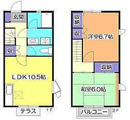 [テラスハウス] 東京都小平市小川町1丁目 の賃貸【東京都 / 小平市】の間取り
