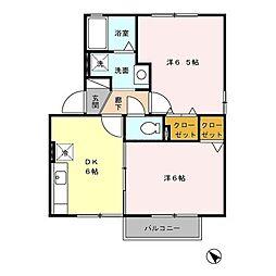 セジュール パル 水城A棟[2階]の間取り