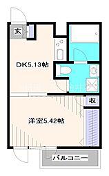 西武新宿線 田無駅 徒歩5分の賃貸マンション 2階1DKの間取り