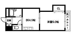 上新庄グランドハイツ 6階1DKの間取り