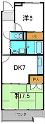 守口コーポ 3階2DKの間取り