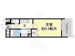 京阪本線 北浜駅 徒歩5分の賃貸マンション 6階1Kの間取り