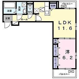 JR山陽本線 高島駅 徒歩29分の賃貸アパート 1階1LDKの間取り