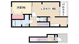 愛知県名古屋市守山区吉根3丁目の賃貸アパートの間取り