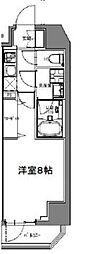 S-RESIDENCE大森山王 6階1Kの間取り