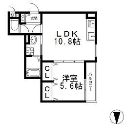 クリエオーレ川田[201号室号室]の間取り