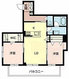 南海高野線 白鷺駅 徒歩15分の賃貸マンション 3階2LDKの間取り