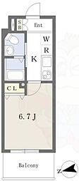 Osaka Metro御堂筋線 西田辺駅 徒歩2分の賃貸マンション 7階1Kの間取り