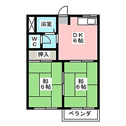 ドミールハラ B棟[2階]の間取り