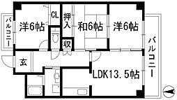 兵庫県宝塚市中筋9丁目の賃貸マンションの間取り