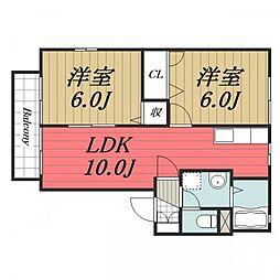 千葉県四街道市美しが丘1丁目の賃貸アパートの間取り