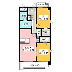 レ・セゾン・クレール[3階]の間取り