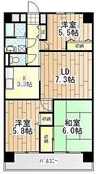 神奈川県厚木市愛甲3丁目の賃貸マンションの間取り