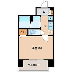 仙台市営南北線 広瀬通駅 徒歩5分の賃貸マンション 9階1Kの間取り
