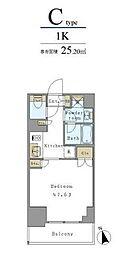 つくばエクスプレス 新御徒町駅 徒歩3分の賃貸マンション 4階1Kの間取り
