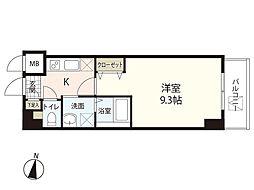 広島電鉄1系統 市役所前駅 徒歩3分の賃貸マンション 8階1Kの間取り