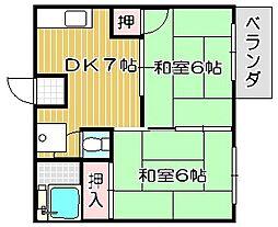 大阪府高槻市大蔵司2丁目の賃貸アパートの間取り