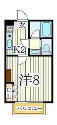 千葉県我孫子市天王台3丁目の賃貸アパートの間取り