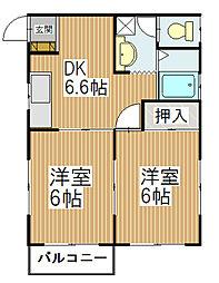 長野県飯田市山本の賃貸アパートの間取り