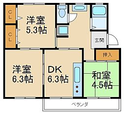 大阪府枚方市香里ケ丘1丁目の賃貸マンションの間取り