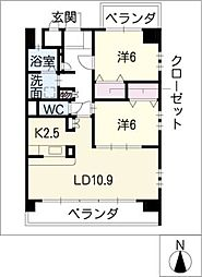 イーグルネスト新須磨[6階]の間取り