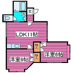 北海道札幌市白石区菊水元町六条3丁目の賃貸アパートの間取り