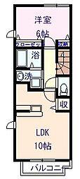 愛媛県新居浜市下泉町1丁目の賃貸アパートの間取り